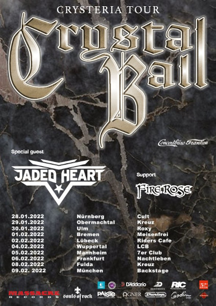 CRYSTAL BALL | JADED HEART: Tour Anfang 2022